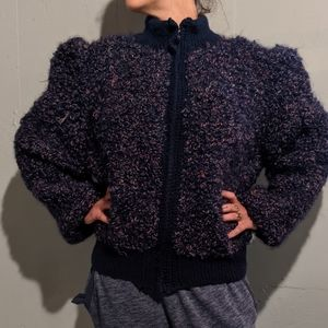 Boutique Hand Knit Puff Sleeve Bomber Jacket